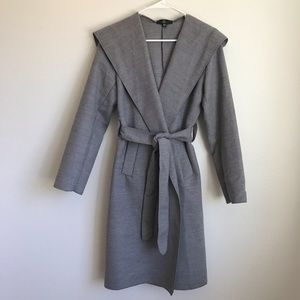 Missguided Gray Belted Trench Coat with Hood